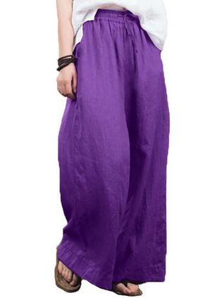 Casual Loose High Waist Polyester Pants (146987605)