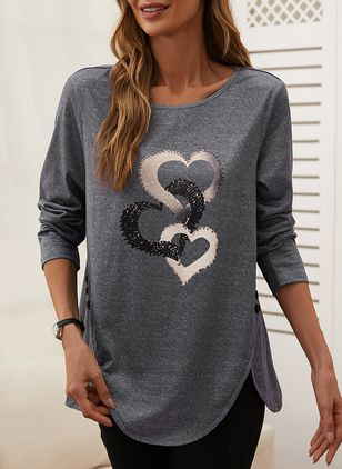 Geometric Round Neck Long Sleeve Casual T-shirts (110516850)