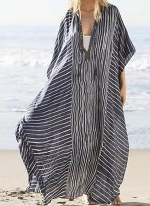 Plus Size Casual Stripe Tunic V-Neckline A-line Dress (4663297)