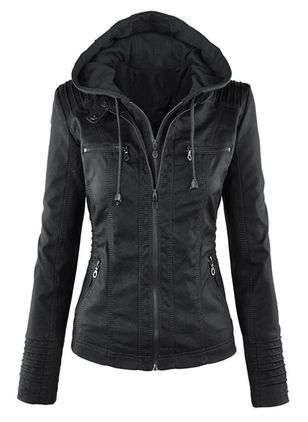 Long Sleeve Hooded Zipper Pockets Zip Up Coats