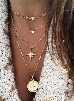Casual Star Round No Stone Pendant Necklaces (100668900)