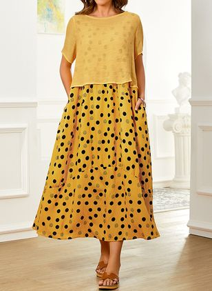 Plus Size Casual Polka Dot Tunic Round Neckline A-line Dress (1527844)