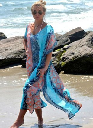 Polyester Color Block Cover-Ups, Swimwear