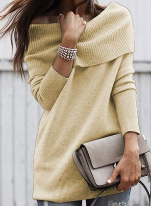 Off the Shoulder Solid Casual Regular Shift Sweaters (108858364)