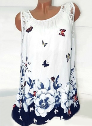 Floral Square Neckline Sleeveless Blouses
