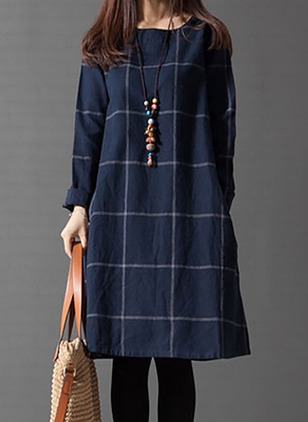 Cotton Plaid Long Sleeve Knee-Length Dresses