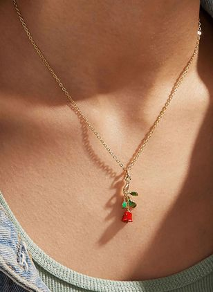 Elegant Floral No Stone Pendant Necklaces (100772421)