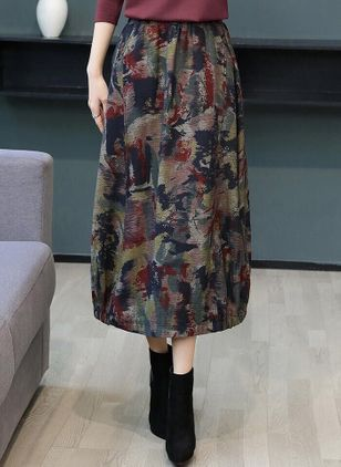 Color Block Midi Casual Skjørt (104917526)