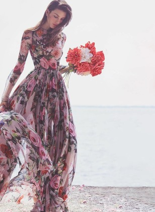 Floral Peasant Long Sleeve Maxi A-line Dress
