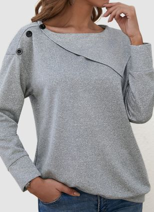 Round Neckline Solid Casual Loose Regular Buttons Sweaters (101326266)