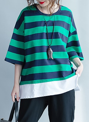 Stripe Casual Polyester Round Neckline 3/4 Sleeves Blouses