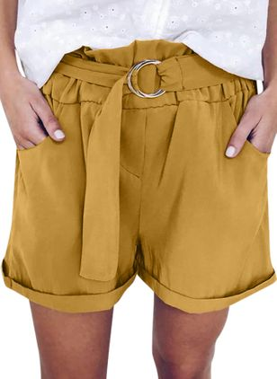 Casual Straight Pockets High Waist Polyester Pants Shorts (147221303)