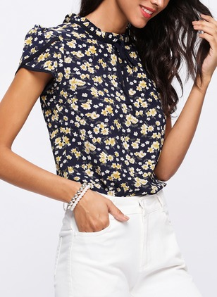Floral Cute Chiffon Round Neckline Short Sleeve Blouses