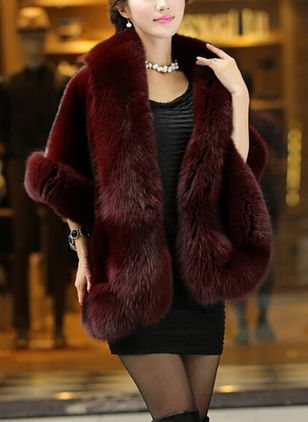 3/4 Sleeves Collarless Pockets Fur Coats