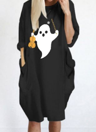Halloween Color Block Tunic Round Neckline Shift Dress (109554416)