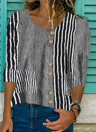 Stripe Casual Round Neckline 3/4 Sleeves Blouses (4049668)