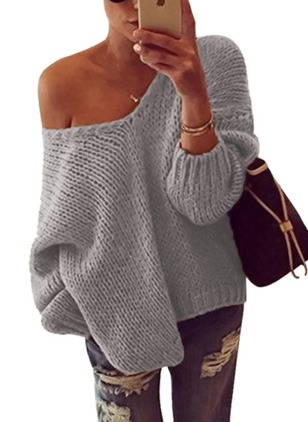 V-Neckline Solid Oversized Loose None Sweaters