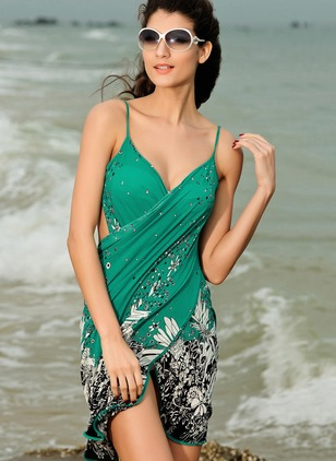 Polyester Halter Flowers Cover-Ups Swimwear