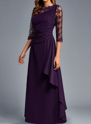 Casual Solid Round Neckline Maxi X-line Dress (1442129)