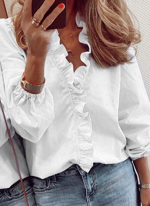 Solid Summer V-Neckline Long Sleeve Blouses (1525676)