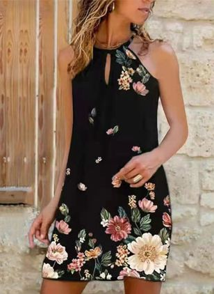 Casual Floral Sleeveless Above Knee A-line Dress (147243028)