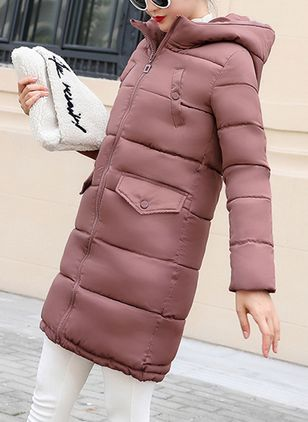 Long Sleeve Hooded Buttons Zipper Pockets Padded Coats