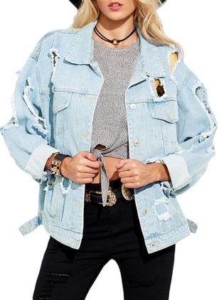 Long Sleeve Collar Denim Jackets