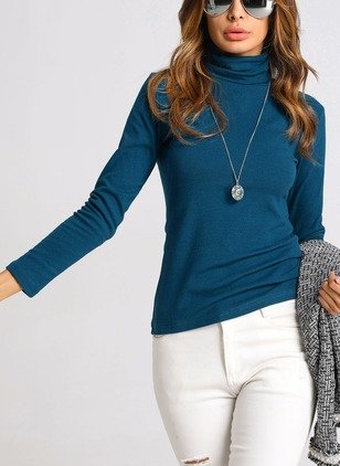 Solid High Neckline Long Sleeve Casual T-shirts