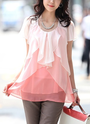 Color Block Casual Polyester Round Neckline Short Sleeve Blouses