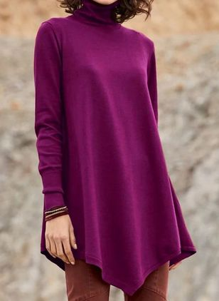 Draped Neckline Solid Casual Loose Long Shift Sweaters (5502083)