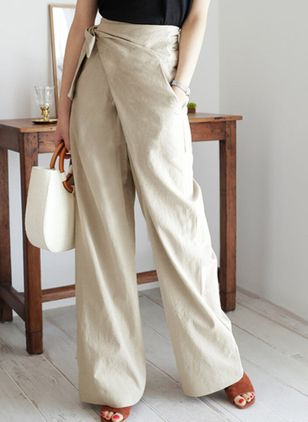 Casual Loose Pockets High Waist Polyester Pants (146896778)