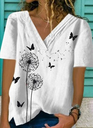 Animal V-Neckline Short Sleeve Casual T-shirts (4135288)