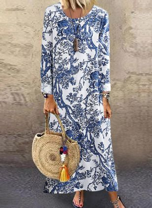 Chinese Casual Floral Tunic Round Neckline A-line Dress (107561244)