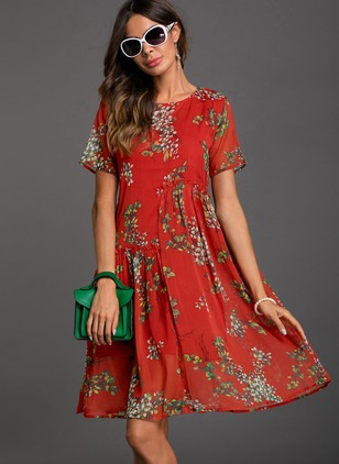 Floral Peasant Short Sleeve Knee-Length Shift Dress
