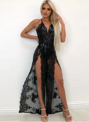 Floral Lace Slip Maxi A-line Dress