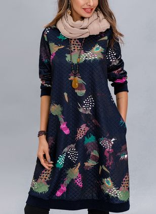 Floral Pockets Long Sleeve Above Knee Shift Dress