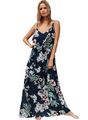Floral Ruffles Slip Maxi Shift Dress