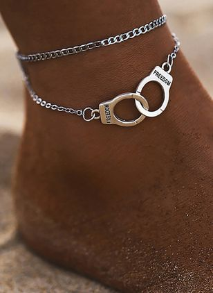 Casual No Stone Geometric Anklet (4037292)
