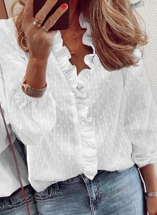 Solid Casual V-Neckline Long Sleeve Blouses (146932253)