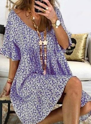 Plus Size Casual Floral Tunic V-Neckline A-line Dress (1541765)