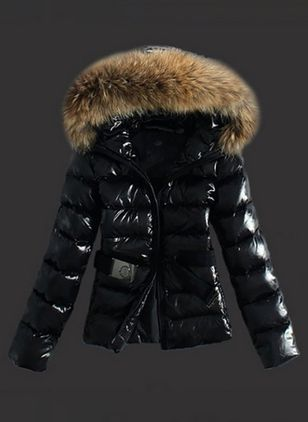 Long Sleeve Hooded Sashes Zipper Unremovable Fur Collar Padded Coats (1245629)