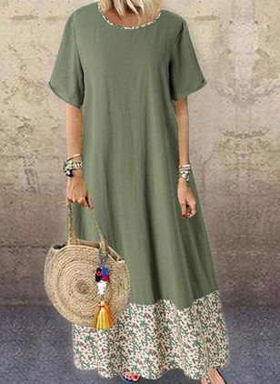 Casual Floral Tunic Round Neckline Shift Dress (4037984)