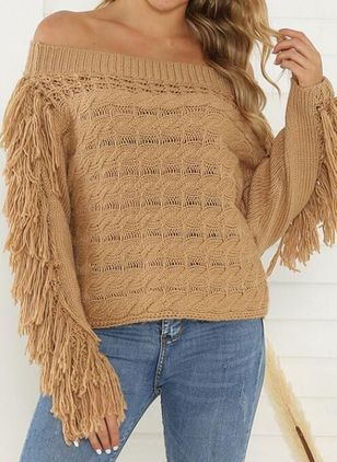 Off the Shoulder Solid Casual Loose Regular Tassel Sweaters (101193344)