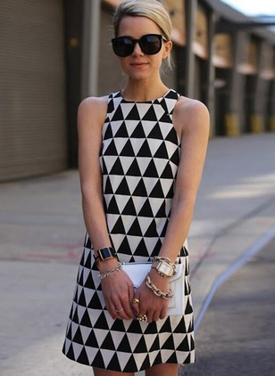 Cotton Geometric High Neckline Sleeveless Shift Dress