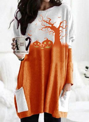 Halloween Color Block Tunic Round Neckline Shift Dress (111323607)