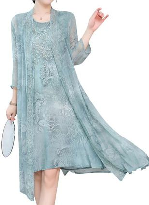 Casual Floral Tunic Round Neckline Shift Dress (1495339)