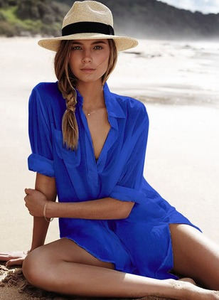 Cotton Solid Cover-Ups Swimwear
