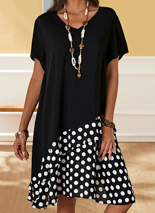 Plus Size Casual Polka Dot Tunic V-Neckline A-line Dress (2200339)