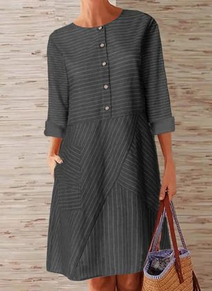 Casual Stripe Tunic Round Neckline A-line Dress (100038067)