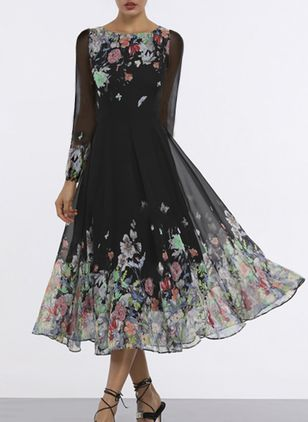 Floral Long Sleeve Midi A-line Dress